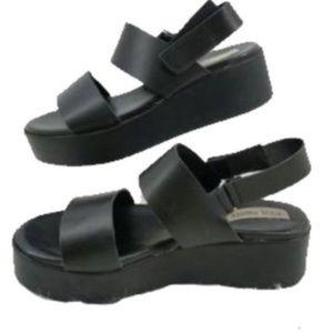 Steve Madden Sandals Black Platform Size 9 Italy